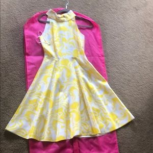 Yellow and White Kate Spade Dress-60s Vibe, Size 4